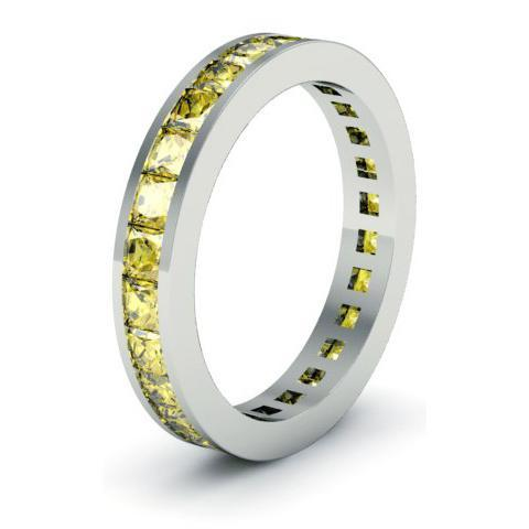 Yellow Sapphire Eternity Anniversary Ring Gemstone Eternity Rings deBebians