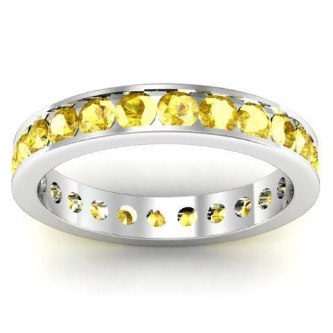 Yellow Sapphire Eternity Band in Channel Setting Gemstone Eternity Rings deBebians