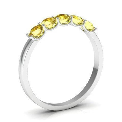 0.50cttw U Prong Yellow Sapphire Five Stone Band Five Stone Rings deBebians