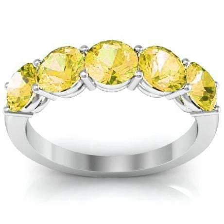 2.00cttw Shared Prong Yellow Sapphire Five Stone Ring Five Stone Rings deBebians