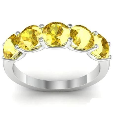 2.00cttw U Prong Yellow Sapphire Five Stone Band Five Stone Rings deBebians