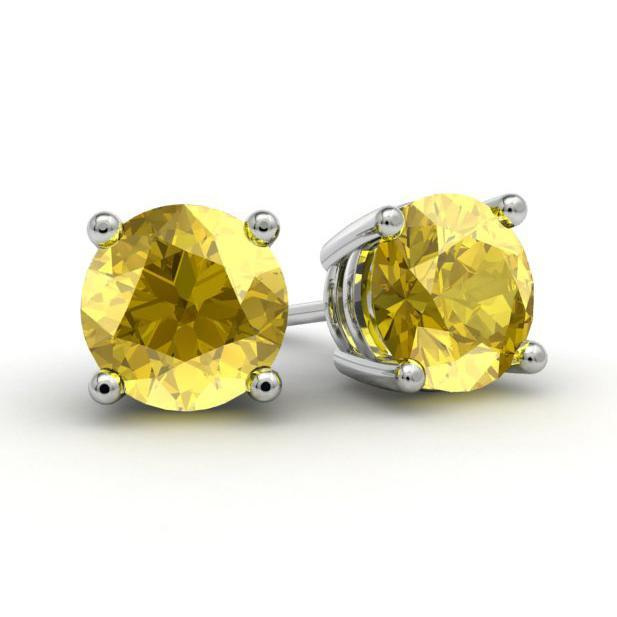 Yellow Sapphire Stud Earrings Gemstone Stud Earrings deBebians