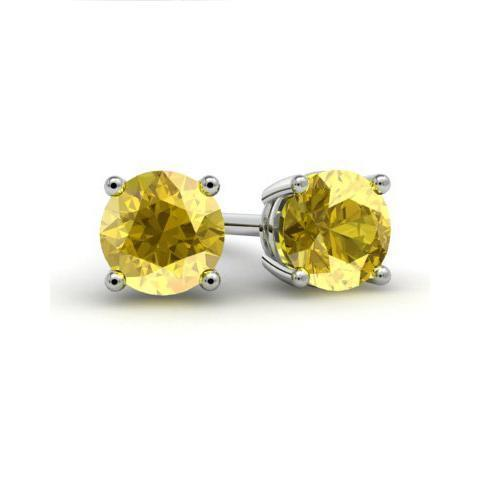 Yellow Sapphire Studs Gemstone Stud Earrings deBebians