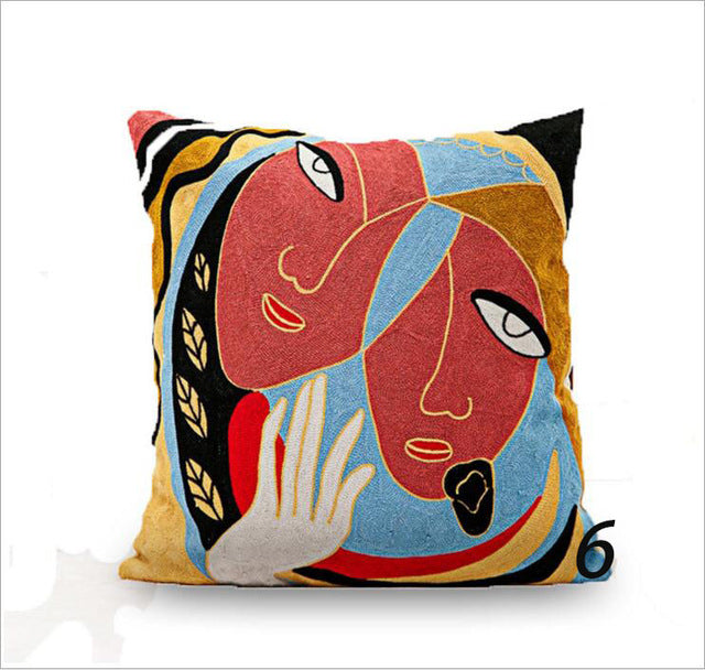 Embroidered Picasso Square Pillow Covers