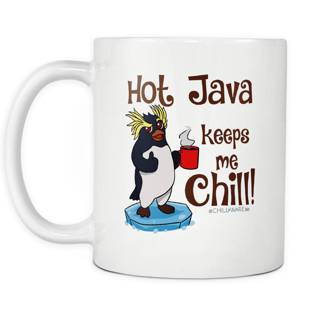 Coffee Mug w/ Sage Penguins -'Hot Java Keeps Me Chill!'