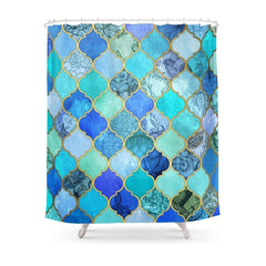 Cobalt Blue, Aqua, and Gold Moroccan Pattern Shower Curtain