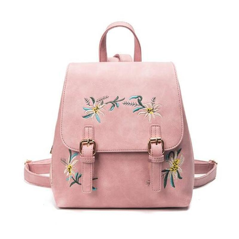 Women's Leather School Bag with Embroidery