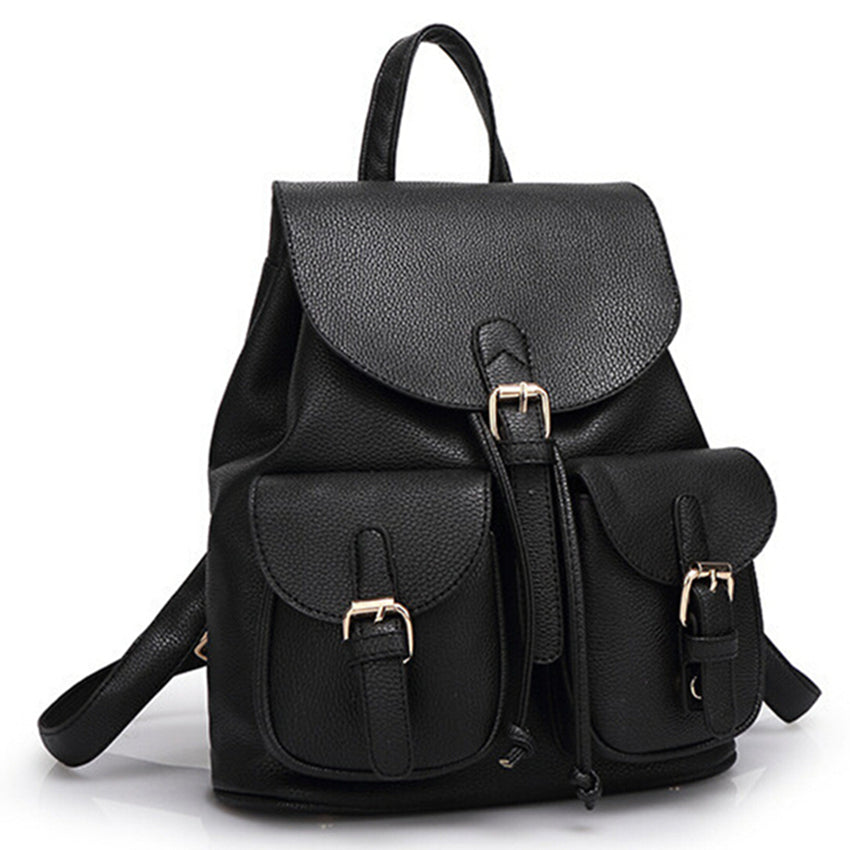 Women's Leather Schoolbag Backpack