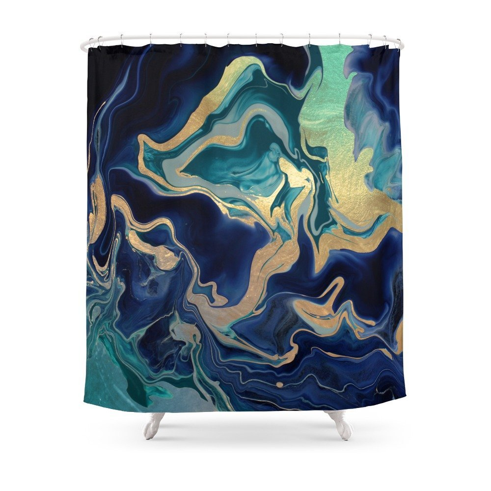 GOLD INDIGO MARBLE Fabric Shower Curtain w/ Liner, 12 Hooks, Mildewproof