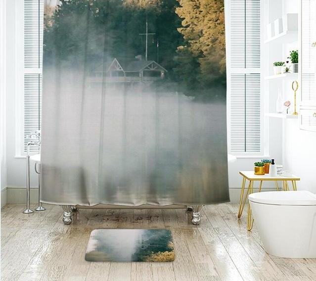 Landscape Painting Shower Curtain Waterproof Polyester Fabric