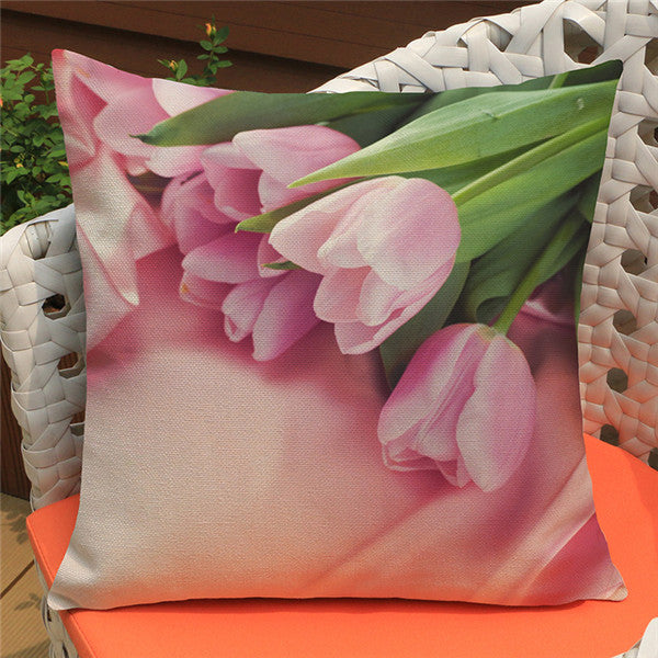Country Style Tulip Print Linen Pillow Case Cover