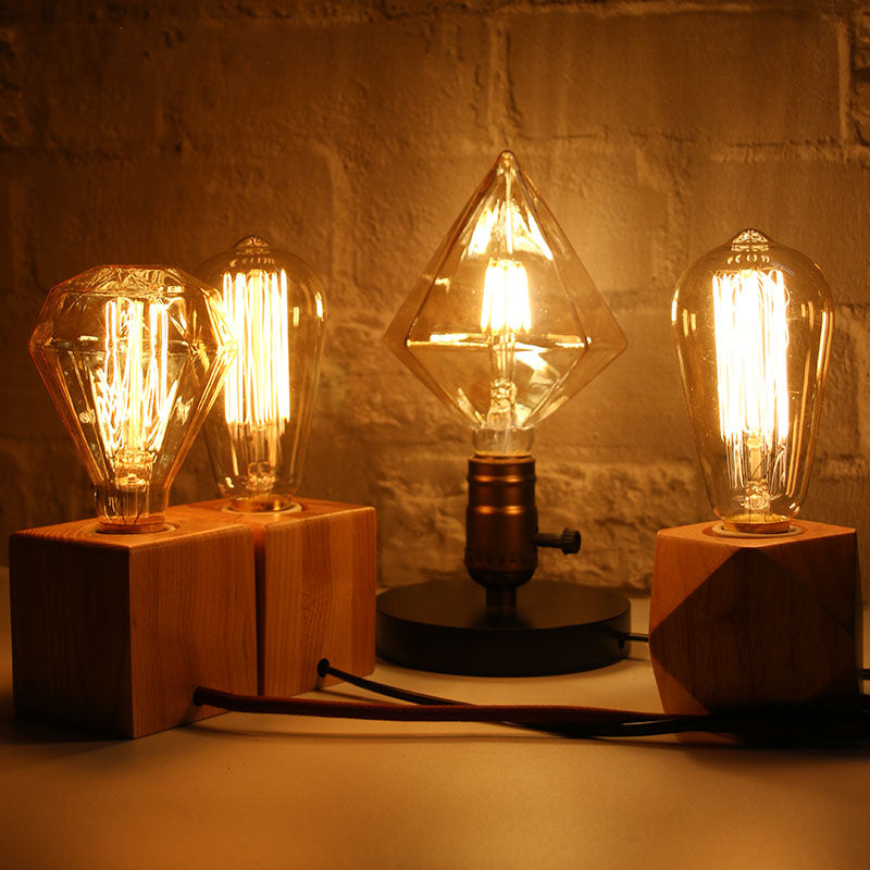 Novelty Retro Edison Tungsten Bulb Table Lamp for Bedroom Table Decoration