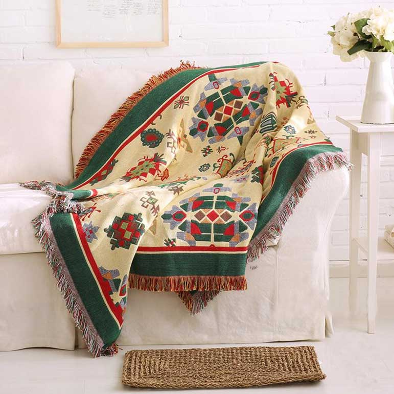 Kilim Tapestry Blanket, Double Sided Colors for Sofa or Bedspread