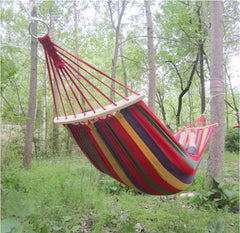 Two Person Canvas Hammock with Wooden Stabilizer