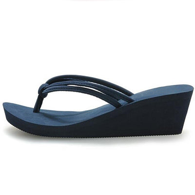 Women's Leather Strap Rubber Sole Platform Sandals