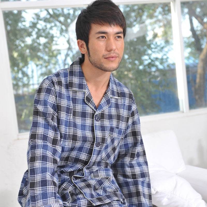 Mens Cotton Plaid Sleepwear