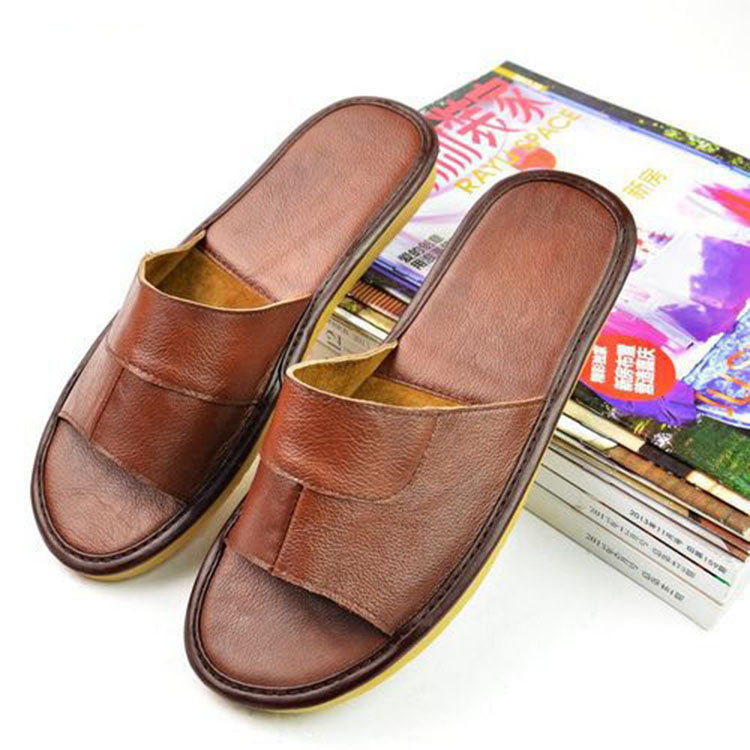 Full Leather Men's Home Zapatos Slippers