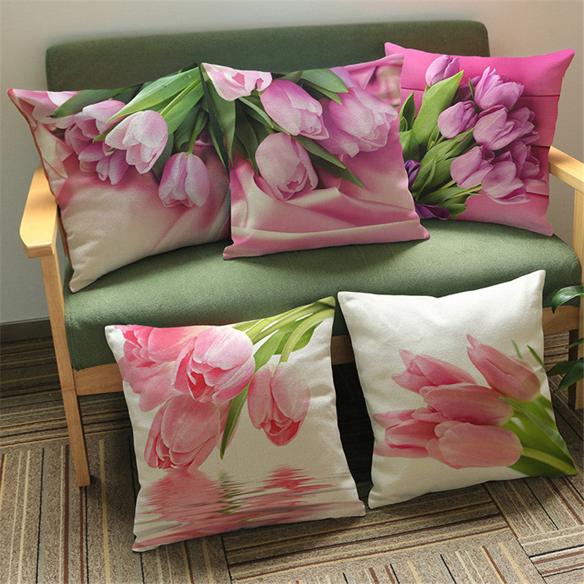 Printed Linen Tulip Cushion Covers