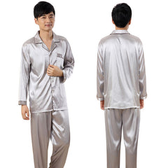 Men Sleepwears Faux Silk Pajamas