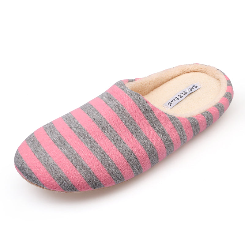 Short Plush Striped Cotton Soft Bottom Slippers
