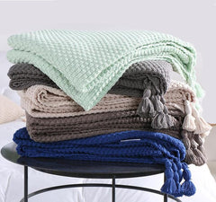 Knit Cotton Waffle Pattern Blanket and Sofa Throw, 130cm x 170cm