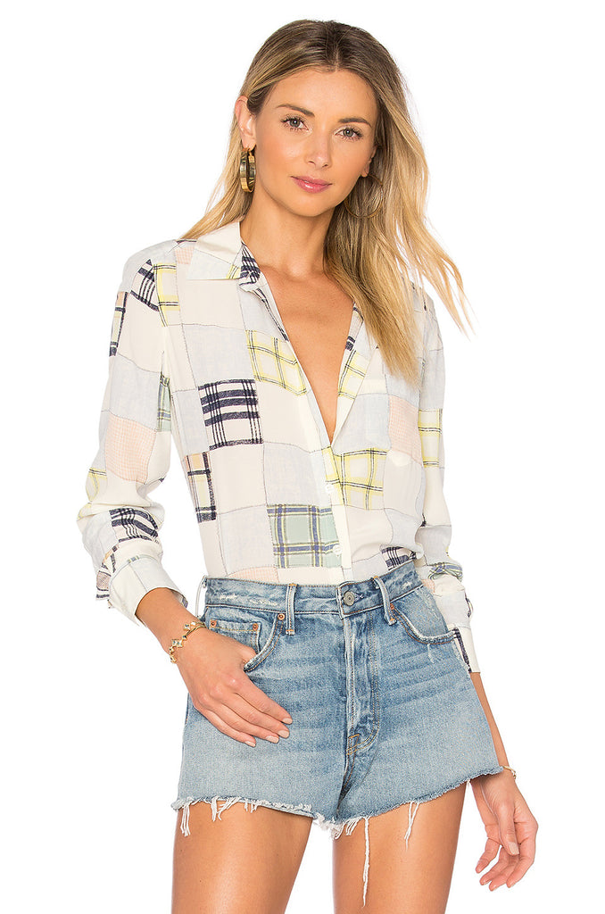 Silk Women Colorful Plaid Print Long Sleeve Shirt