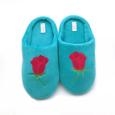 Soft Coral Velvet Embroidered Slippers