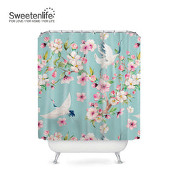 Exotic Birds & Flowers Bath Curtains, with 12 Hooks