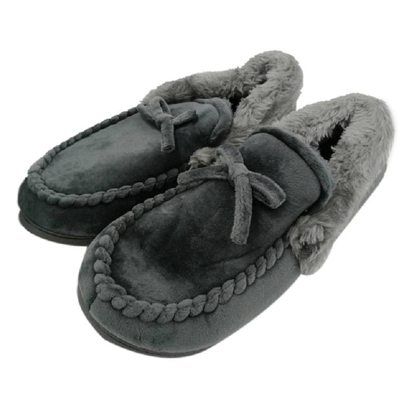 Soft Keep Warm Solid Plush Home Grey Brown Indoor Shoes