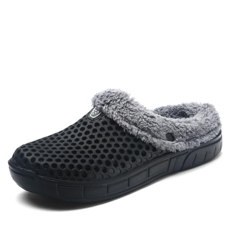 Men's Fur Lined Rubber Clog Slippers