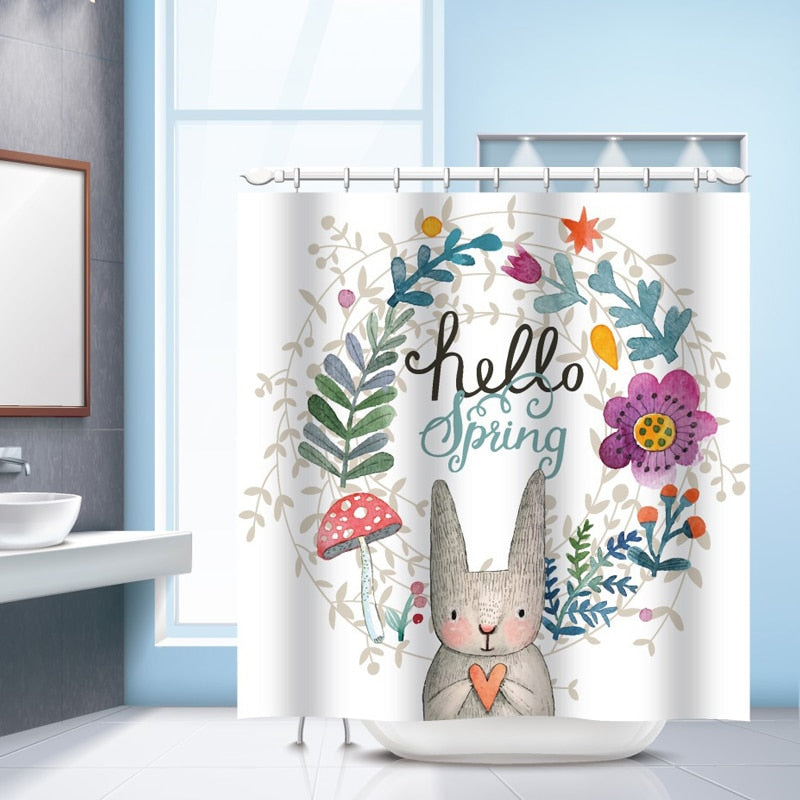 Hello Spring Sweet Rabbit Shower Curtain