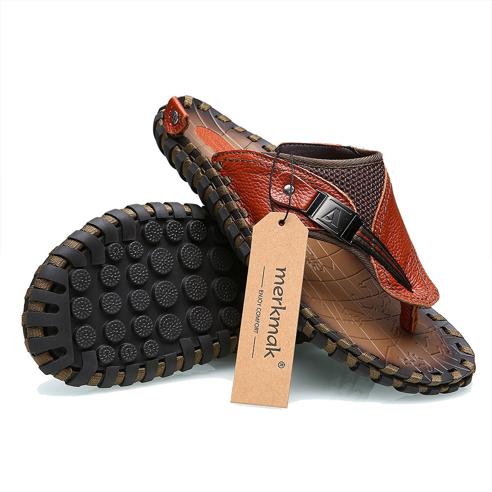 Luxury Leather Men's Summer Loafers with Metal Details