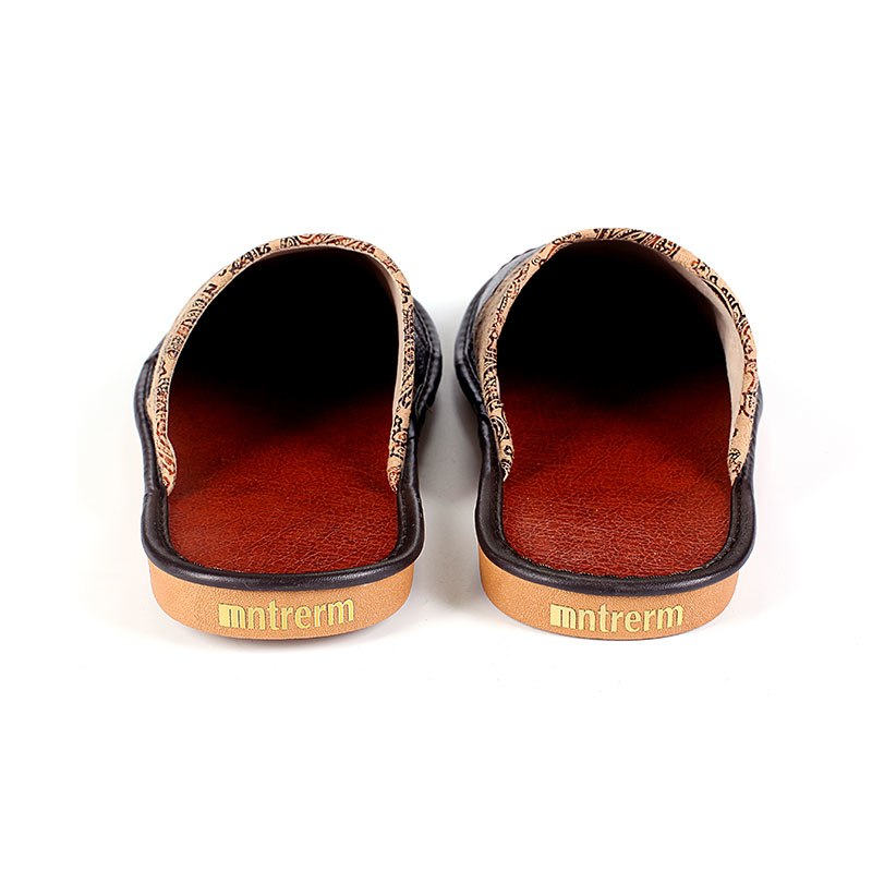 Genuine Leather Paisley Fabric Men's Slippers
