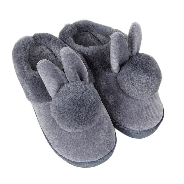 Cozy Rabbit Ears Plush Slippers