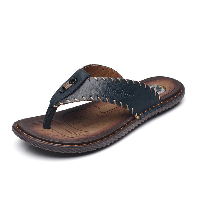 Handmade Genuine Leather Sandals with Sewn Borders