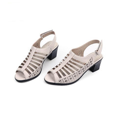 Women's Peep Toe Soft Leather Summer Sandals