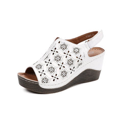 Star Fretwork Pattern Summer Wedge Heels for Women