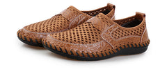 Open Weave Leather Mesh Slip-On Summer Shoes, Big Sizes