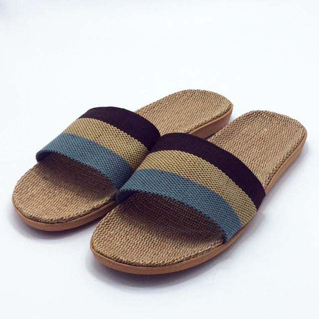 Men's Flax Woven Home Slippers