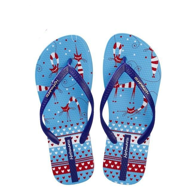 Crazy Cat, Butterfly Print Ladies' Flip Flop Sandals