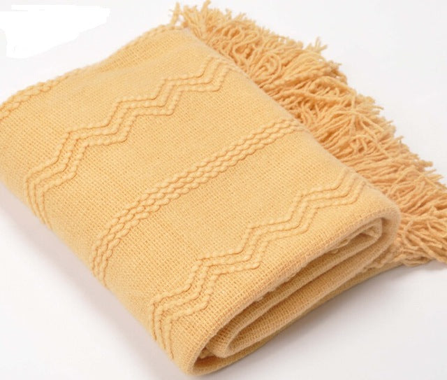 Knit Weave Pattern Throw Blanket