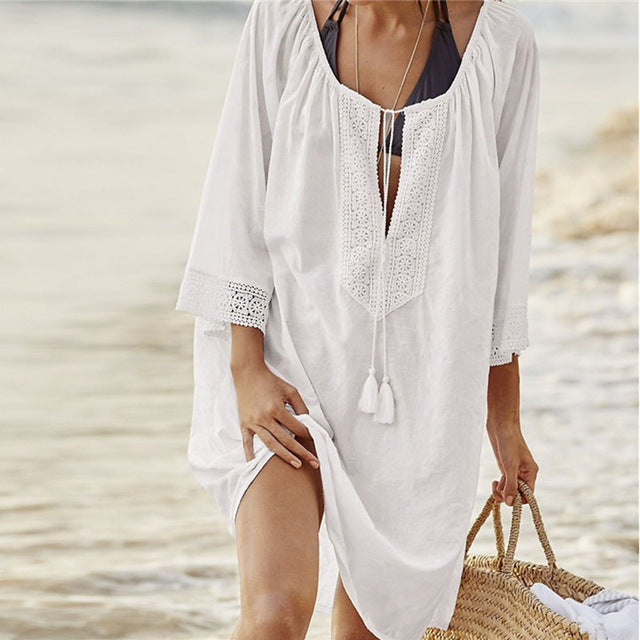 Open Sleeve Lace Crocheted Swimsuit Cover-Up