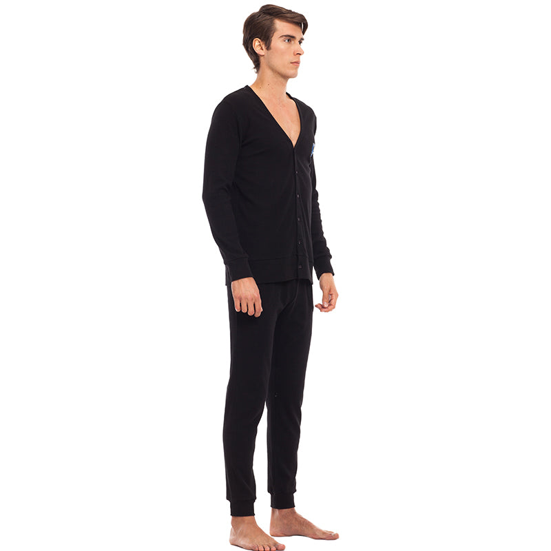 THREEGUN Men Sleepwear Sexy Deep V-neck Male Cardigan Sleep Tops with Buttons Pajama Pants Rib Fabric Nightgown Home Clothes