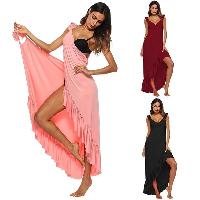 Ruffles Full Length Women's Swimsuit Cover Up
