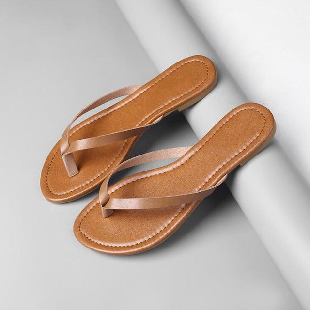 Women's Leather Insole Color Strap Flats