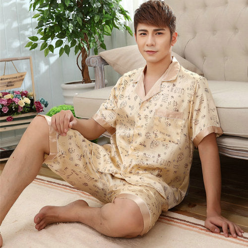 Summer Mens Silk Satin Pajamas Set