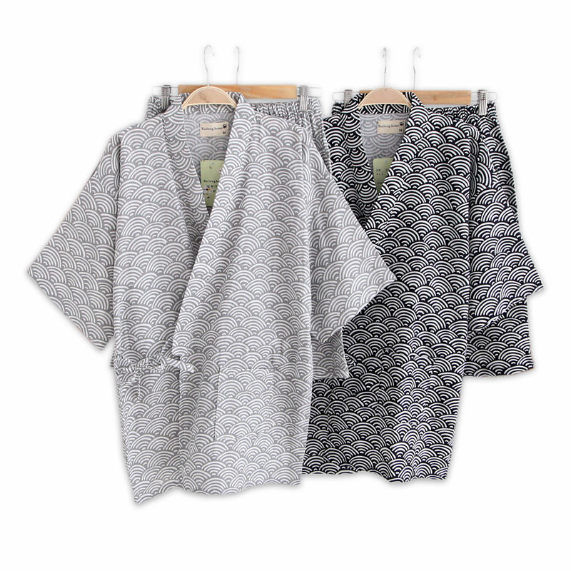 Japanese Wave Pattern Summer Kimono Pajamas Set