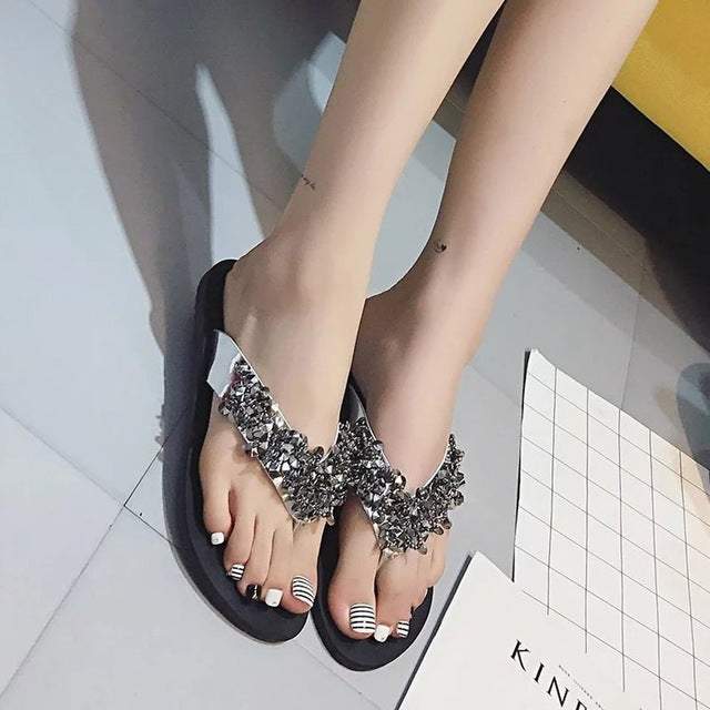 Women's Crystal Bling Rubber Sole Sandals