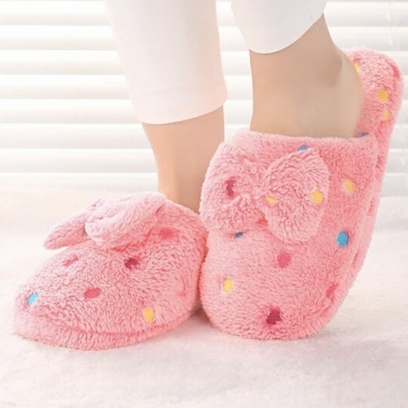 Plush Polka Dot Cotton Slippers