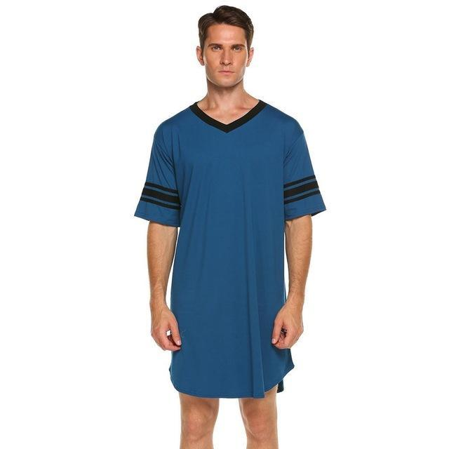 Men's Long Banded Sleeves Nightshirt